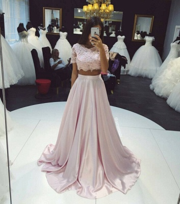 Two-Piece Prom Dresses Pink Lace Short Sleeves Elegant Long Evening Gowns_3