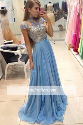 Romantic Sky Blue Long High Neck A-line Chiffon Crystals Prom Dresses_1