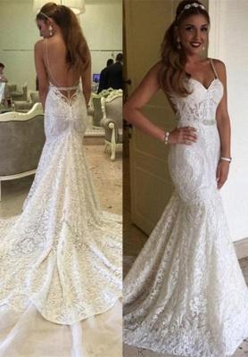 Elegant Backless Spaghetti Straps Mermaid Lace Wedding Dresses_2