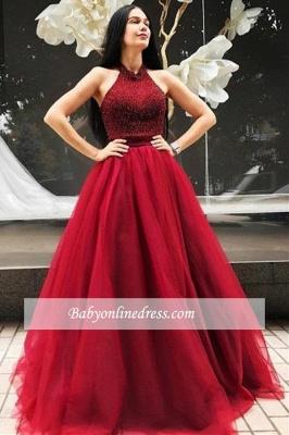 Sleeveless Tulle Floor-Length Red A-line Halter Beadings Evening Dress_1