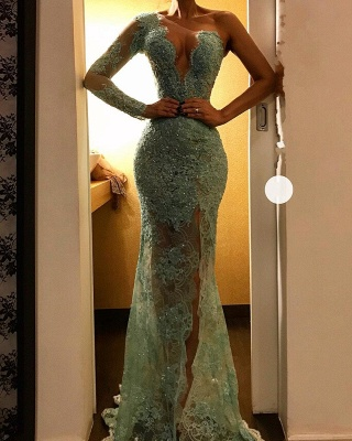Sexy Mint Lace Evening Gowns | One Shoulder Sheer Beading Slit Prom Dresses_3
