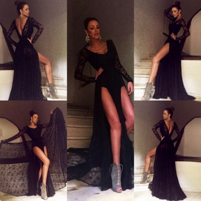 Sexy Black Prom Dress Lace Sweep-Train Long-Sleeve Evening Gowns_3