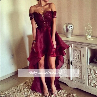 2018 Hi-Lo Burgundy Prom Dresses | Sexy Off-the-Shoulder Evening Gowns_4