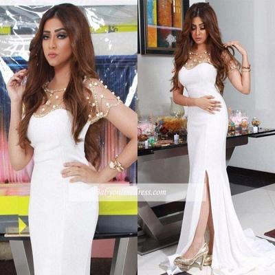 2018 Gorgeous Chiffon Mermaid White Split Evening Dresswith Beadings BA4593_1