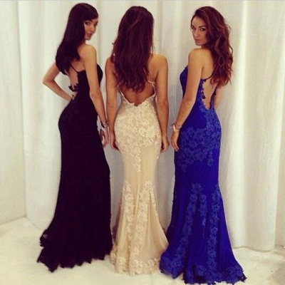 Alluring Lace Mermaid Royal Blue Evening Dress Spaghetti Straps Backless Prom Dress_3