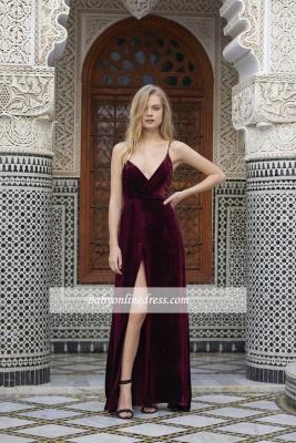 Alluring Maroon A-line Prom Dresses Spaghetti-Straps Side Slit Velvet Evening Dress_4