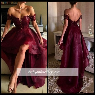 2018 Hi-Lo Burgundy Prom Dresses | Sexy Off-the-Shoulder Evening Gowns_5