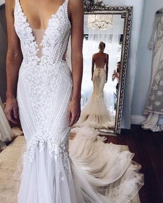 Elegant Open-Back Appliques V-Neck Mermaid Wedding Dresses_3
