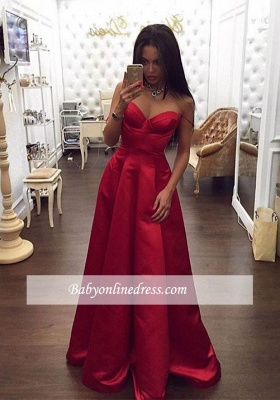 Glamorous Red Sweetheart Prom Dress A-Line Spaghetti-Straps Evening Dress_3