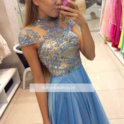 Romantic Sky Blue Long High Neck A-line Chiffon Crystals Prom Dresses_3