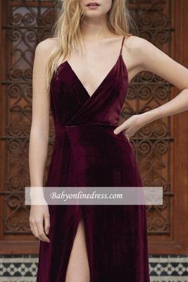 Alluring Maroon A-line Prom Dresses Spaghetti-Straps Side Slit Velvet Evening Dress_3