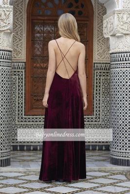 Alluring Maroon A-line Prom Dresses Spaghetti-Straps Side Slit Velvet Evening Dress_1