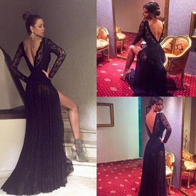 Sexy Black Prom Dress Lace Sweep-Train Long-Sleeve Evening Gowns_4