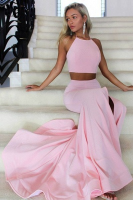 2018 Two Piece Prom Dresses Mermaid Backless Long Evening Gowns_1
