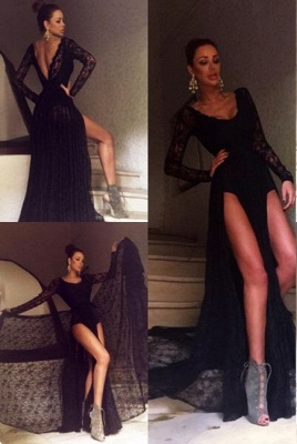 Sexy Black Prom Dress Lace Sweep-Train Long-Sleeve Evening Gowns_2
