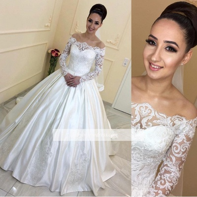 A-line Lace Long-Sleeves Sweep Train Off-the-Shoulder Wedding Dresses_1