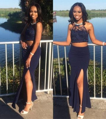 Navy Sheath Side Slit Prom Dress Halter Lace Two Piece Evening Dress_3