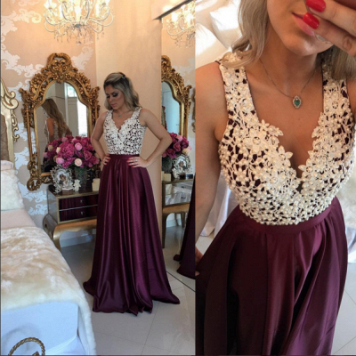 Marsala Burgundy Prom Dresses Lace with Pearls Top Shiny Skirt Evening Gowns_3