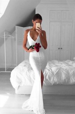 Modest Mermaid White V-neck Evening Gowns Front-Split Backless Sleeveless Lace Prom Dress_3