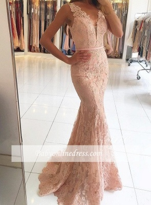 2018 Mermaid Pink Sexy Lace Long Evening Dresses_4
