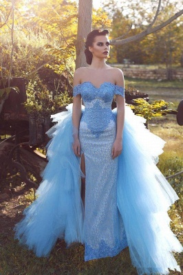 Glamorous Blue Lace Prom Dresses Off-the-shoulder Tulle Evening Dress_2