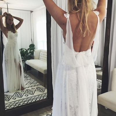 Spaghetti Straps Side-Slit A-Line Wedding Dresses | Sexy Backless Lace Bridal Gowns Floor Length_3