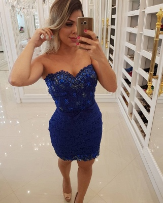 Luxury Sheath Lace Homecoming Dresses | Sweetheart Short Party Dresses Overskirt Bar0051_3