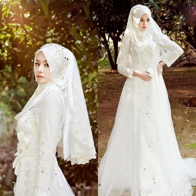 Arabic Delicate White Bow A-line Wedding Dress with Beadings_3