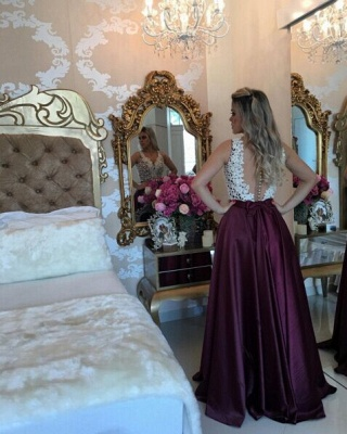 Marsala Burgundy Prom Dresses Lace with Pearls Top Shiny Skirt Evening Gowns_4