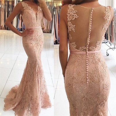 2018 Mermaid Pink Sexy Lace Long Evening Dresses_5
