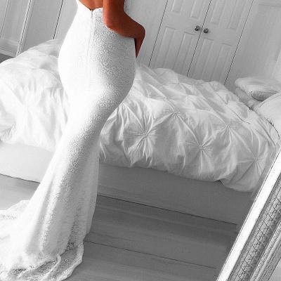 Modest Mermaid White V-neck Evening Gowns Front-Split Backless Sleeveless Lace Prom Dress_4