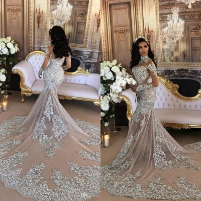 Luxury Silver Mermaid Wedding Dresses | Long Sleeves Lace High Neck Bridal Gowns_4