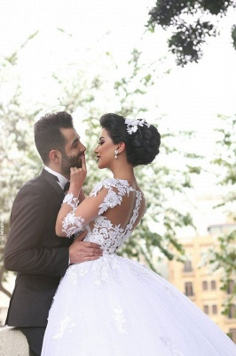 Lace Appliques Arabic Ball Gown Wedding Dresses Tulle Long Sleeves Vestidos_3