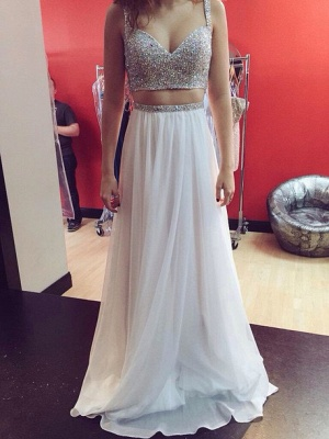 Two-Piece Prom Dresses Straps Beaded White Chiffon Formal Party Dresses_3