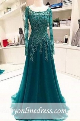 Scoop Beaded Lace A-Line Blue Long-Sleeves Appliques Evening Dress_3