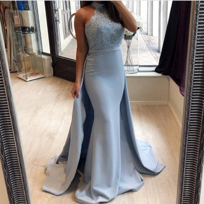 Chic Blue Prom Dresses with Overskirt | Halter Neck Sleeveless Mermaid Evening Gowns_3