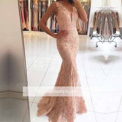 2018 Mermaid Pink Sexy Lace Long Evening Dresses_3