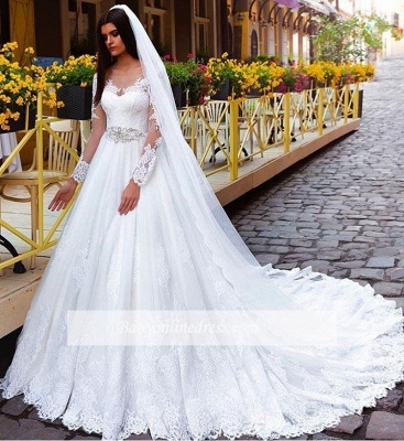 Elegant Long Sleeves Crystal Lace Princess Wedding Dresses_1