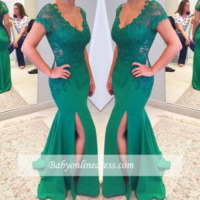 Green Short Sleeves V-neckline Evening Gowns 2018 Mermaid Applique Lace Prom Dress_1
