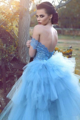 Glamorous Blue Lace Prom Dresses Off-the-shoulder Tulle Evening Dress_3