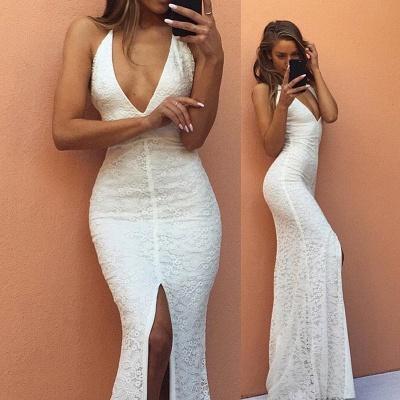 Modest Mermaid White V-neck Evening Gowns Front-Split Backless Sleeveless Lace Prom Dress_7