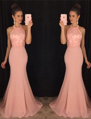 Gorgeous Mermaid Halter Prom Dresses Sleeveless Applqiues Sweep Train_1