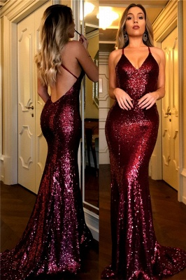 Sexy 2018 Sequined Prom Dresses Burgundy V-Neck Open Back Mermaid Evening Gowns_1