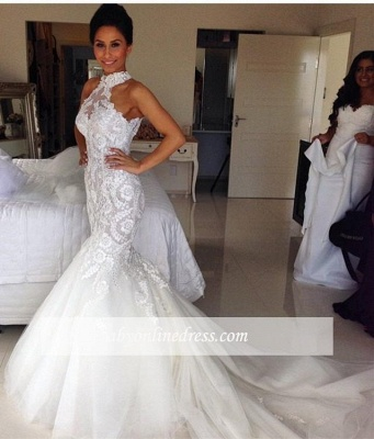 Sexy Mermaid Applique Bridal Gowns Sleeveless Long Tulle Halter Wedding Dresses_1