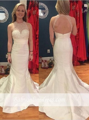 Charming Mermaid Beadings Prom Dresses Sweep Train Sleeveless Evening Gowns_3