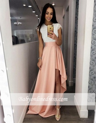 Prom Fashion Cute High-low Lace White-and-pink Cocktail Dress_1