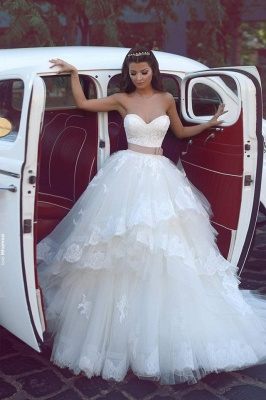 Elegant Sweetheart Tulle Appliques Wedding Dresses Ruffles Bridal ball Gowns with Sash_1