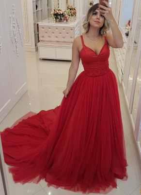 Elegant Red A-Line Prom Dresses | Spaghetti Straps Tulle Long Evening Dresses Sweep Train_1