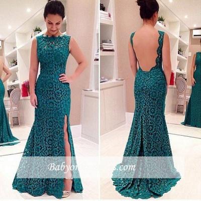 Front-Split Modest Lace Sweep-Train Sleeveless Prom Dress_1