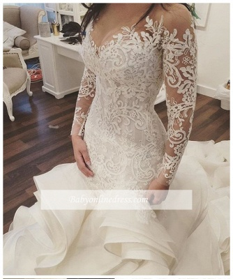 Elegant Organza Mermaid V-Neck Lace Applique Ruffles Wedding Dresses with Long Sleeves_1